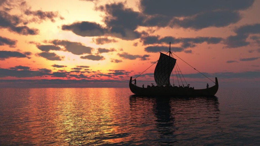 Viking boat in sunset